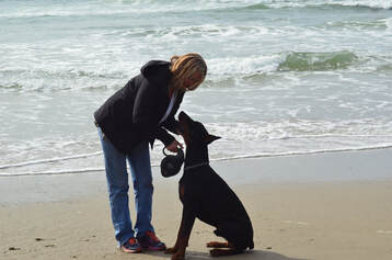 Picture of blond woman with doberman at the beach